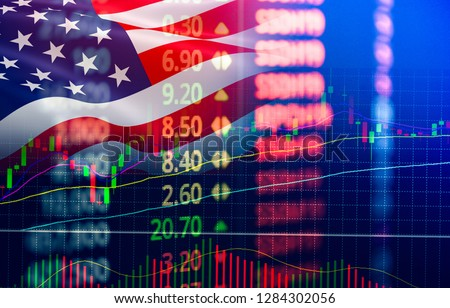 USA. America stock market / New york stock exchange analysis forex indicator Trading graph chart business growth finance money crisis economy and dollar Trade war with America usa flag
