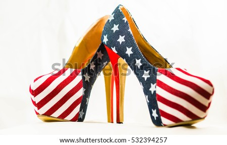 USA America Women's pumps shoes isolated