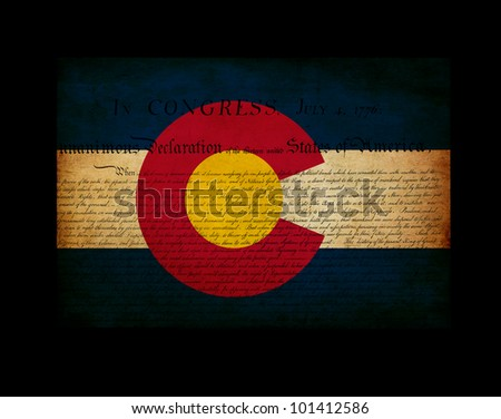 USA American Colorado state map outline with grunge effect flag insert and Declaration of Independence overlay
