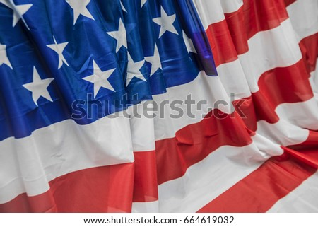 USA American flag pattern on wall and floor background. American flag - independence day. four 4th july #664619032