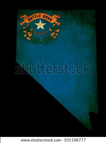 USA American Nevada state map outline with grunge effect flag insert