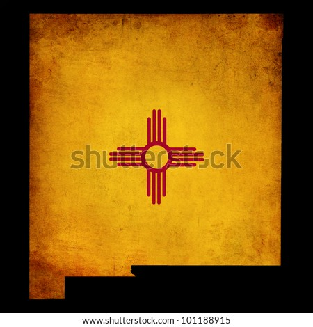 USA American New Mexico state map outline with grunge effect flag insert