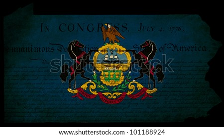 USA American Pennsylvania state map outline with grunge effect flag insert and Declaration of Independence overlay