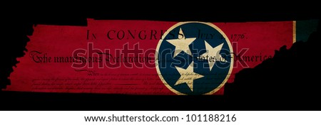 USA American Tennessee state map outline with grunge effect flag insert and Declaration of Independence overlay - stock photo