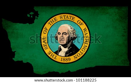 USA American Washington state map outline with grunge effect flag insert