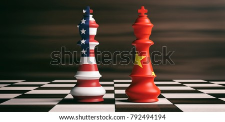 USA and China cooperation concept. US America and China flags on chess kings on a chess board, brown wooden background. 3d illustration