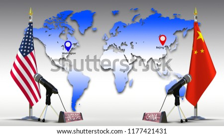 USA and China flags negotiate and talking speech American , Chinese flag on metal rack with microphone Sign of country name on World map background with mark capital Member of G20 3d illustration