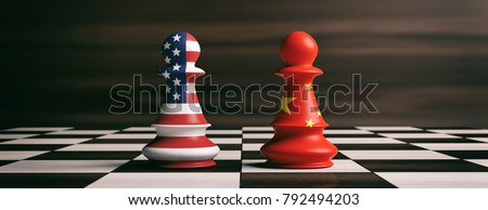 USA and China trade relations, cooperation strategy. US America and China flags on chess pawns soldiers on a chessboard. 3d illustration