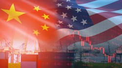 USA and China trade war economy conflict tax business finance money / United States raised taxes on imports of goods from China on Container ship in export and import logistics background