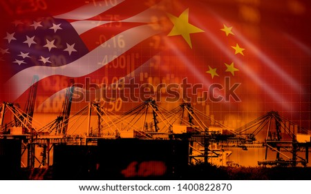 USA and China trade war economy conflict tax business finance money / United States raised taxes on imports of goods from China on industry container ship in export and import logistics background