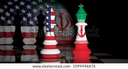 USA and Iran relationship. US America and Iran flags on chess kings on a chess board. 3d illustration Stockfoto ©