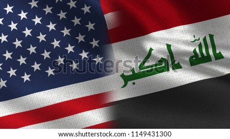 Usa and Iraq Realistic Half Flags Together