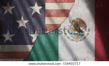Usa and Mexico Flag on Cracked Concrete Wall With Gate Shadow #558403717