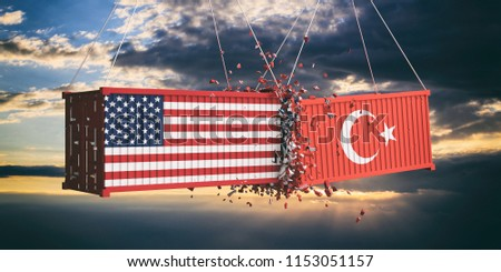 USA and Turkey trade war concept. US of America and Turkish flags crashed containers on sky at sunset background. 3d illustration
