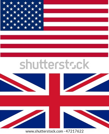 USA and UK flags isolated illustration