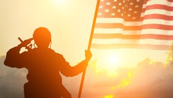 USA army soldier with nation flag. Greeting card for Veterans Day , Memorial Day, Independence Day . America celebration.