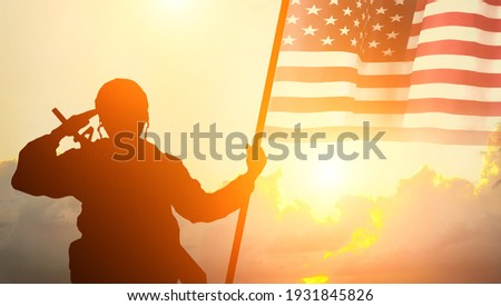 USA army soldier with nation flag. Greeting card for Veterans Day , Memorial Day, Independence Day . America celebration. Stock photo ©