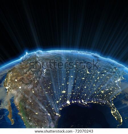 USA at night. Earth map from NASA