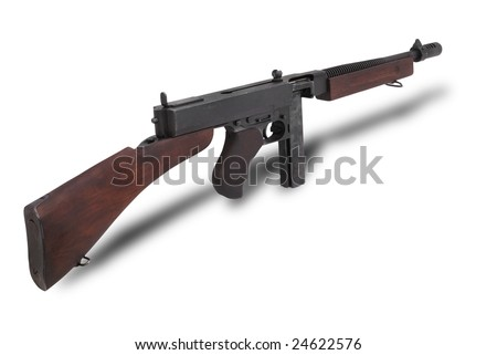 USA at the WW2. Submachine gun Thompson (Model 1928A1). The M1928 was the first type widely used by military forces, with the U.S. Navy and U.S. Marine Corps through the 1930s.
