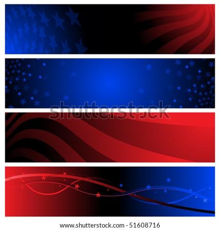 USA banners - raster - stock photo