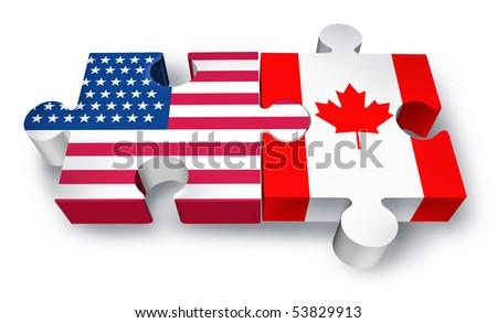 USA Canada cooperation puzzle isolated on white background