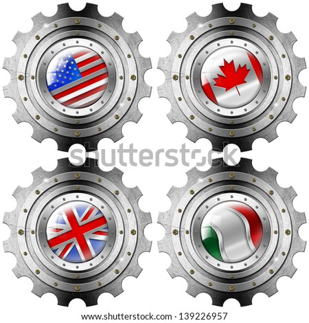 USA Canada UK Italy Gears Metal Flags / Four metal gears with the flags of: USA, UK, Canada and Italy