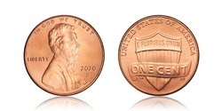 usa 1 cent, 2020 Lincoln on white background