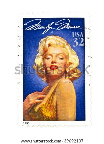 USA - CIRCA 1995: A 32 cents stamps printed in USA showing a Marilyn Monroe portrait, circa 1995