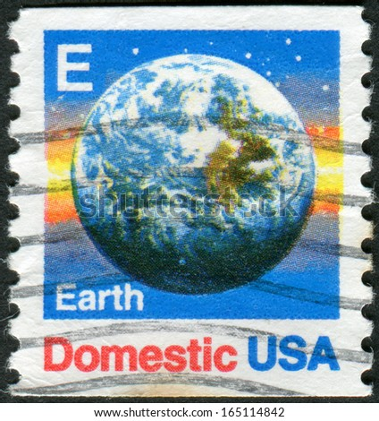 USA - CIRCA 1988: A postage stamp printed in USA (Domestic Mail), shows the Earth view from space, circa 1988