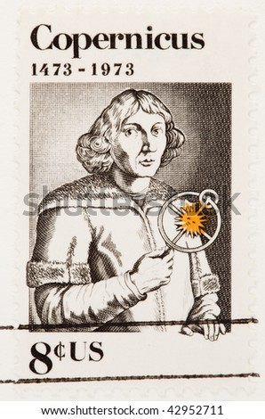 USA - CIRCA 1973: A stamp printed by USA shows the Nicolaus Copernicus with an astrolabe circa 1973.