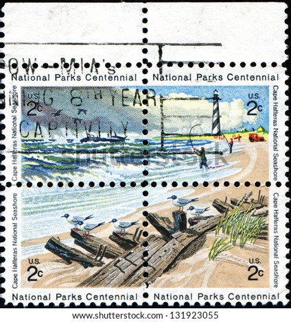 USA - CIRCA 1972: A stamp printed in the United States of America shows Cape Hatteras National Seashore, National Parks Centennial issue, circa 1972