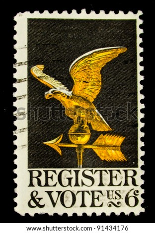USA - CIRCA 1980: A stamp printed in the USA dedicated to the Voter registration is the requirement in some democracies for citizens, circa 1980.