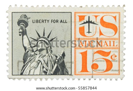 USA - CIRCA 1941: A stamp printed in the USA showing Statue of Liberty, circa 1941