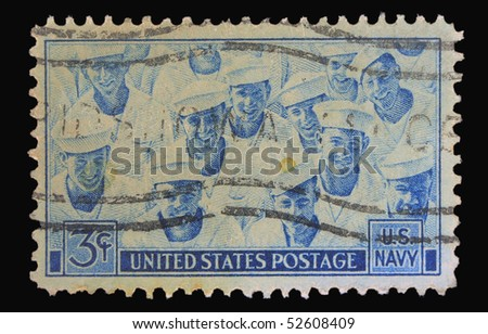 USA - CIRCA 1955: A stamp printed in the USA showing U.S. Navy, circa 1955