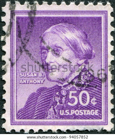 USA - CIRCA 1955: A stamp printed in the USA, shows a feminist and fighter for civil rights for women, Susan Brownell Anthony, circa 1955