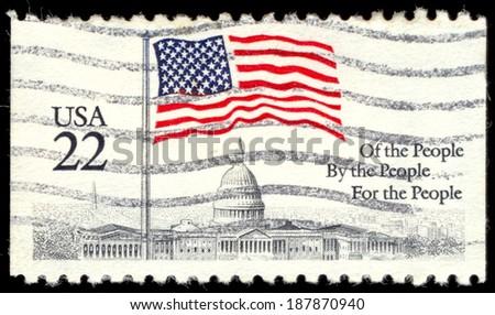 USA - CIRCA 1985: A stamp printed in the USA, shows a Flag over Capitol Dome, circa 1985
