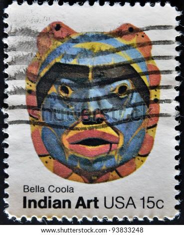 USA - CIRCA 1980 : A stamp printed in the USA shows Bella Coola, Indian Art, circa 1980