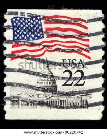 USA - CIRCA 1985: A stamp printed in the USA shows Flag over Capitol, circa 1985