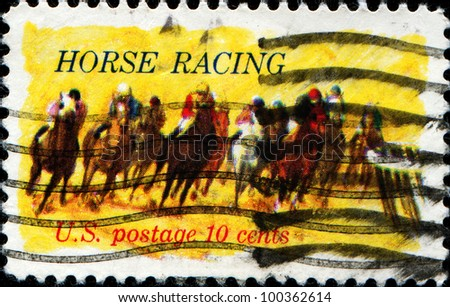 USA - CIRCA 1974 : A stamp printed in the USA shows Horse Racing, circa 1974