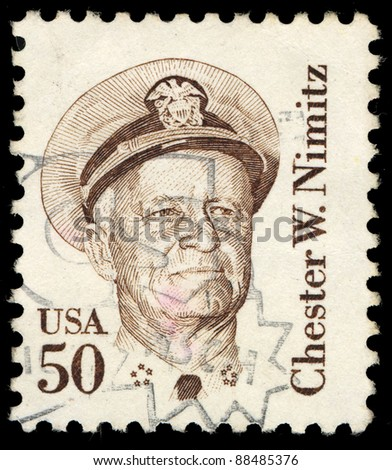 USA - CIRCA 1985: A stamp printed in the USA shows image of Chester W. Nimitz, circa 1985