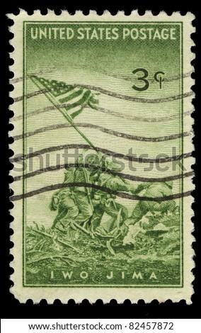 USA - CIRCA 1945 : A stamp printed in the USA shows IWO Jima, circa 1945
