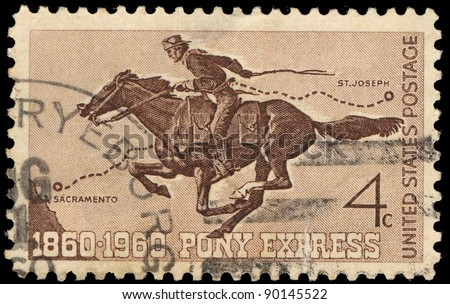 USA - CIRCA 1960: A stamp printed in the USA shows Pony Express, circa 1960