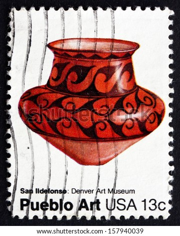 USA - CIRCA 1977: a stamp printed in the USA shows Pottery from San Ildefonso, New Mexico, Pueblo Art, circa 1977
