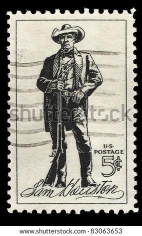 USA - CIRCA 1964 : A stamp printed in the USA shows Sam Houston, circa 1964