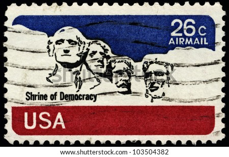 USA - CIRCA 1974: A stamp printed in the USA, shows the Mount Rushmore National Memorial, circa 1974
