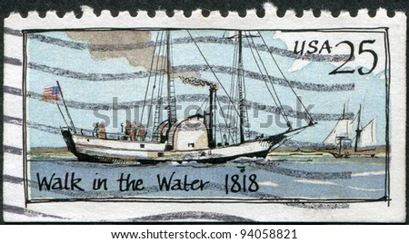 USA - CIRCA 1989: A stamp printed in the USA, shows the steamer Walk in the Water, circa 1989