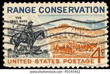 USA - CIRCA 1961: A stamp printed in the USA shows The Trail Boss and Modern Range, circa 1961