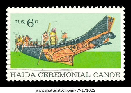 USA - CIRCA 1970- A stamp printed in the USA shows Tlingit Chief in a Haida Ceremonial Canoe (built in 1878 and sixty three feet long from one log), Natural History Issue, circa 1970.