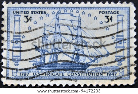 USA - CIRCA 1947 : A stamp printed in the USA shows US frigate Constitution 1797, circa 1947