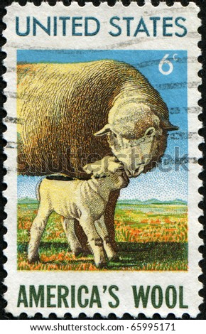 USA - CIRCA 1965: A stamp printed in  United States honoring American Wool Industry shows sheep with lamb, circa 1985